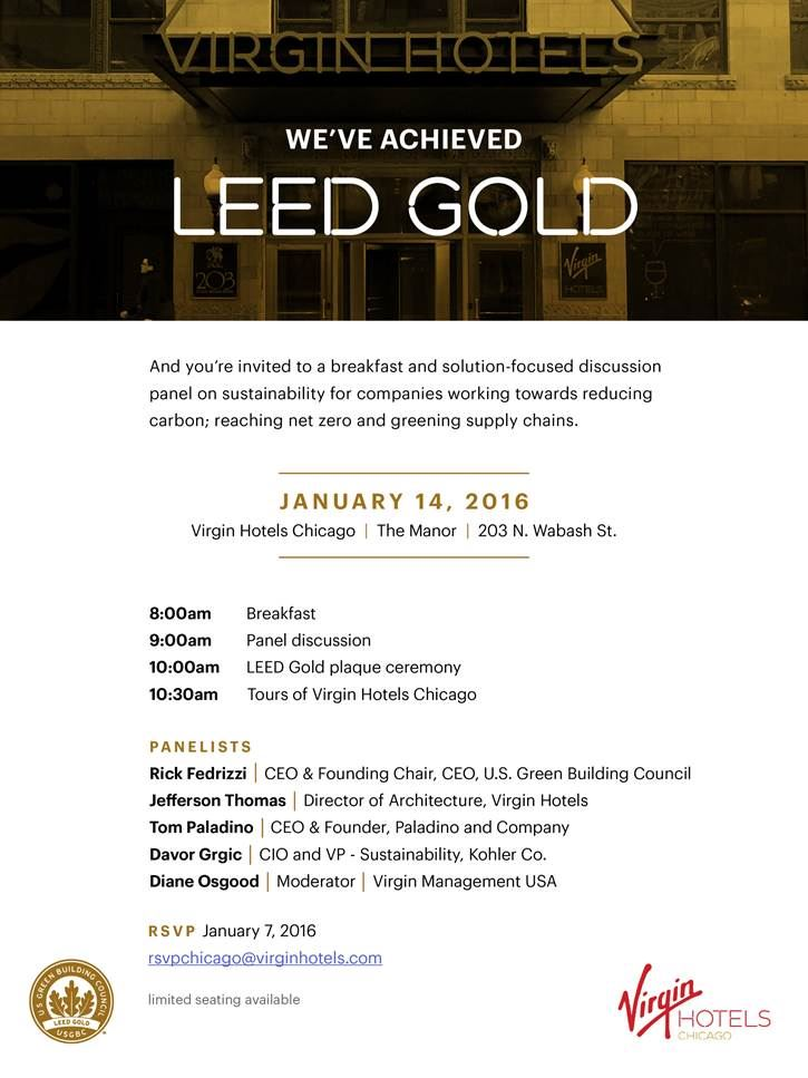 Illinois Green Alliance Virgin Hotels Leed Gold Certification